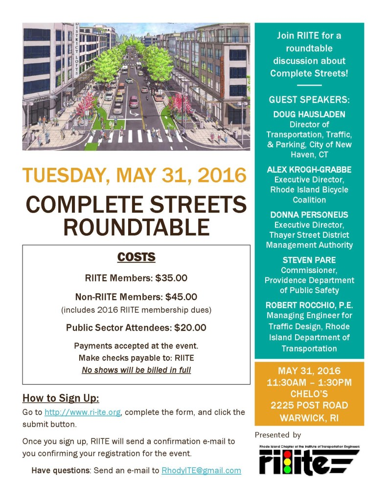 RIITE Complete Streets Roundtable Registration Flyer